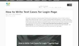 How to Write Test Cases for Login Page - W3lessons