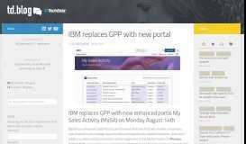 IBM replaces GPP with new portal - td.blog