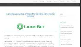 LionsBet Launches Affiliate Programme with Income Access