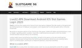 Live22 APK Download Android IOS   Live22 Slot Games Login