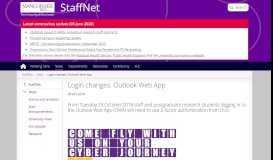 Login changes: Outlook Web App | StaffNet | The University of ...