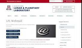 LPL Webmail | Lunar and Planetary Laboratory & Department ...