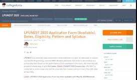 LPUNEST 2020 Application Form, Dates, Eligibility, Pattern ...