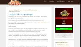 Lucky Club Casino—Login & be Greeted by a $2,222 Bonus