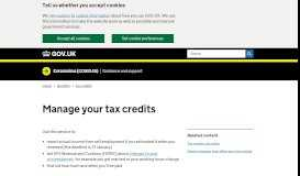 Manage your tax credits - GOV.UK