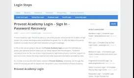 Provost Academy Login - Sign In | Password Recovery | Login ...