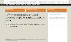 Review lendconnect.io - Lend Connect, Register, Login, LCT ...