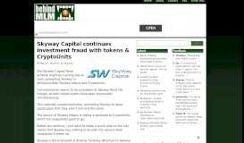 Skyway Capital continues investment fraud with tokens ...