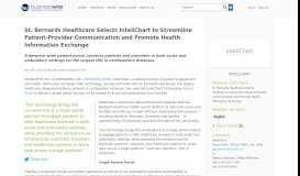 St. Bernards Healthcare Selects InteliChart to Streamline Patient ...