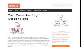 Test Cases for Login Screen Page - Onecore