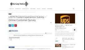 USPS Postal Experience Survey - Online Customer Survey