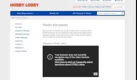 Vendor Documents - Hobby Lobby