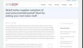 Want better supplier adoption of your procurement portal? Start by ...