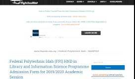 www.fepoda.edu.ng | Federal Polytechnic Idah : IDAHPOLY News