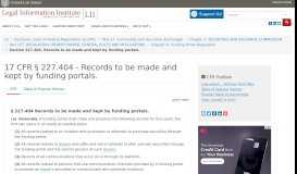 17 CFR § 227.404 - Records to be made and kept by funding portals ...