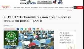 2019 UTME: Candidates now free to access results on portal —JAMB ...