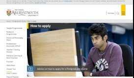 Aberystwyth University - How to apply:Postgraduate Study
