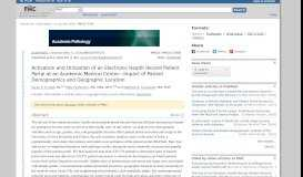 Activation and Utilization of an Electronic Health Record Patient Portal ...