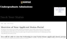 Applicant Status Portal // Undergraduate Admissions // University of ...