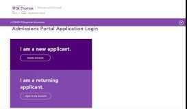 Application Portal – Admissions Applications – University of St. Thomas