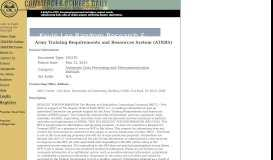 Army Training Requirements and Resources System (ATRRS ...