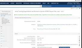 Army Training Requirements and Resources System (ATRRS) Report ...