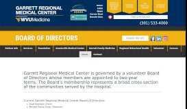 Board of Governors – Garrett Regional Medical Center
