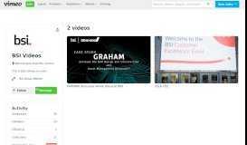 BSI Videos on Vimeo