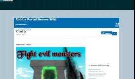 Category:Code | Roblox Portal Heroes Wiki | FANDOM powered by ...