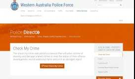 Check My Crime | Western Australia Police Force