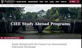 CIEE Study Abroad Programs   Franklin Pierce University