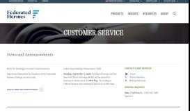 Customer Service | Federated Investors