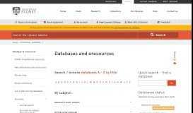 Databases - University of Sydney Library