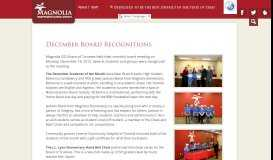 December Board Recognitions - Magnolia Independent School District