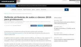 Definida atribuição de aulas e classes 2019 para professores ...