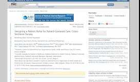Designing a Patient Portal for Patient-Centered Care: Cross-Sectional ...