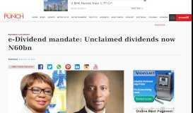 e-Dividend mandate: Unclaimed dividends now N60bn – Punch ...