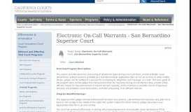 Electronic On-Call Warrants - San Bernardino Superior Court ...