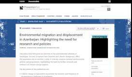 Environmental migration and displacement in Azerbaijan: Highlighting ...