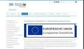 Europäischer Sozialfonds in Mecklenburg-Vorpommern ...