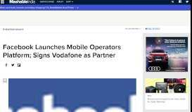 Facebook Launches Mobile Operators Platform; Signs Vodafone as ...