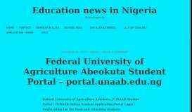 Federal University of Agriculture Abeokuta Student Portal – portal ...