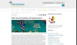 Food security policy and governance - Knowledge Portal - Food ...
