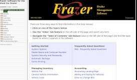 Frazer Software for the Used Car Dealer - Frazer Help Desk