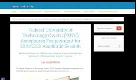 FUTO Acceptance Fee payment for 2018/2019 Session