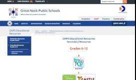 GNPS Educational Resources / Secondary Resources: Grades 6-12