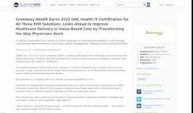 Greenway Health Earns 2015 ONC Health IT Certification for All Three ...