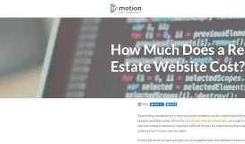 How Much Does a Real Estate Website Cost? | inMotion Real Estate ...