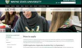 How to apply - Physician Assistant Studies - Wayne State University