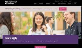 How to apply | Postgraduate study | Loughborough University